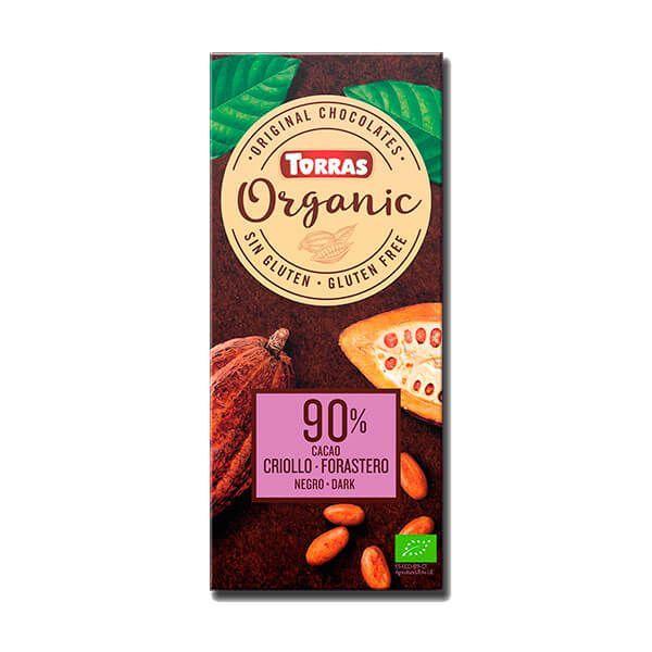Dark chocolate 90% organic criollo forastero cocoa - 100g